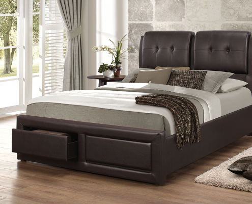 A faux leather tufted headboard makes it a confortable place to lay back and rest, drawers features.